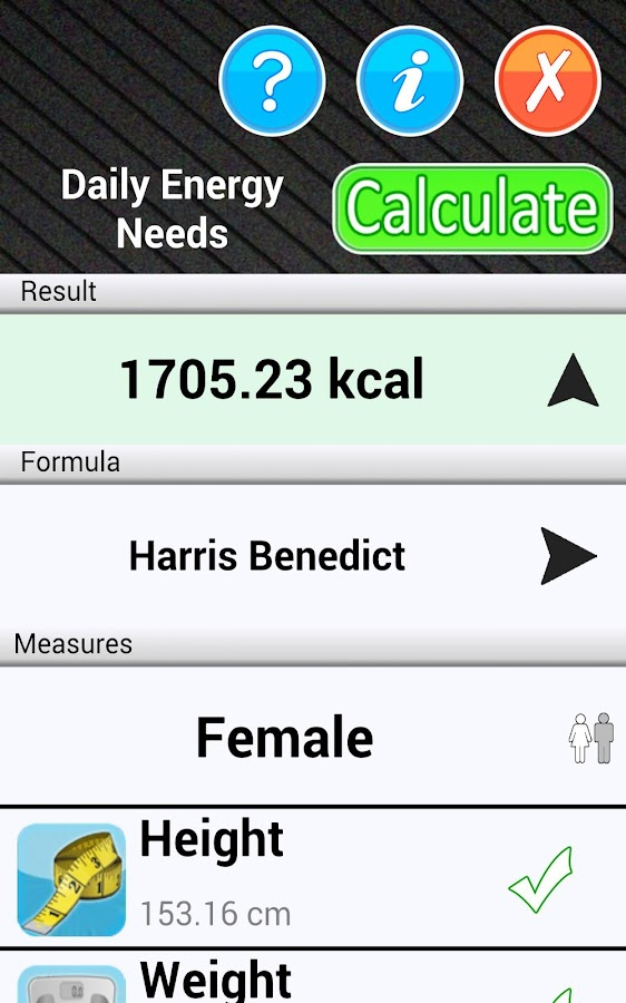 Daily Calorie Needs Calculator - screenshot