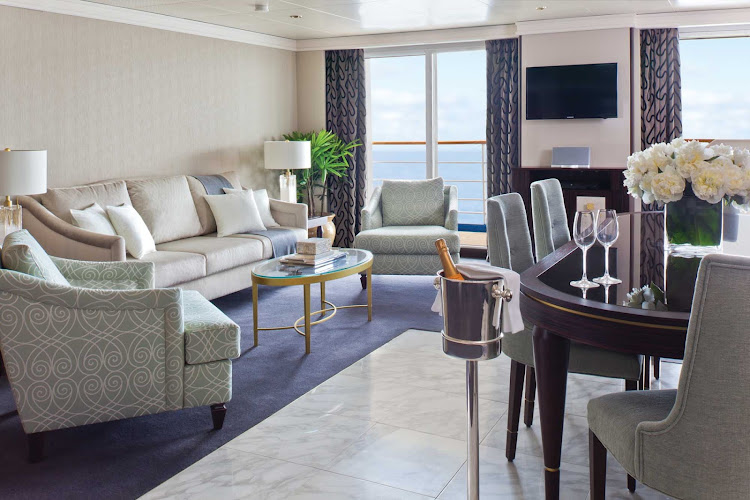 Enjoy a complimentary bottle of champagne when you arrive at your Master Suite on board Seven Seas Navigator.