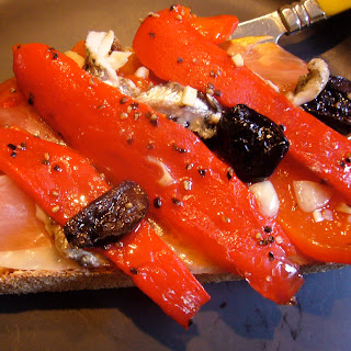 Jamon Serrano with Marinated Red Peppers and Boquerones Recipe