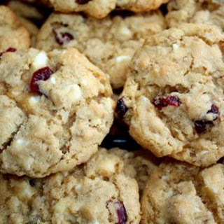 Oatmeal White Chocolate and Cranberry Cookies.