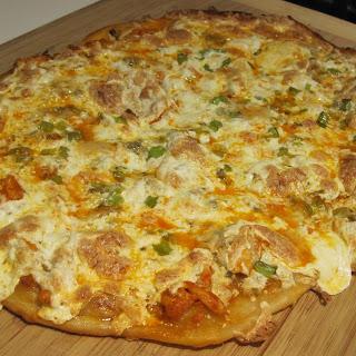 Thin Crust Buffalo Chicken Pizza.