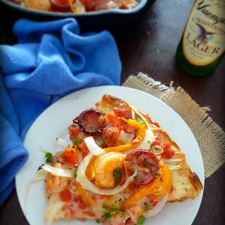 Cajun Style Andouille and Shrimp Pizza.