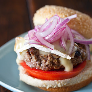 Lamb Burgers with Brie and Quick Pickled Onions.
