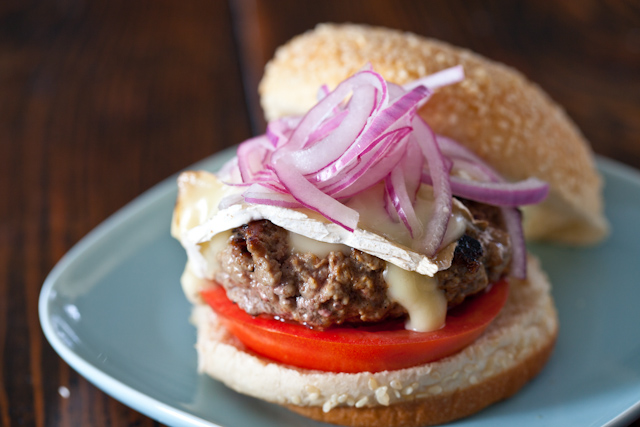Lamb Burgers with Brie and Quick Pickled Onions Recipe