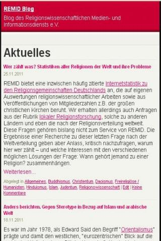 Religionswissenschaft REMID - screenshot