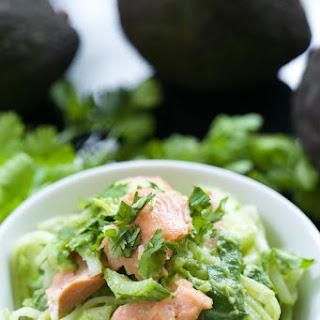 Creamy Avocado Rice Noodle Bowls with Bok Choy.