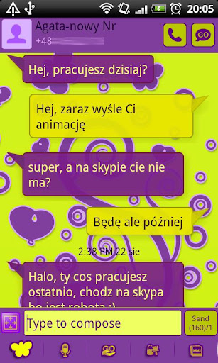 GO SMS Pro Purple Yellow Theme