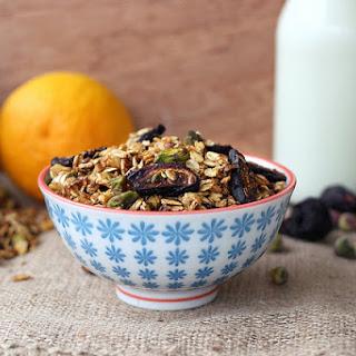 Orange Spice Granola with Black Mission Figs and Pistachios – Gluten-free, Vegan + Refined Sugar-free