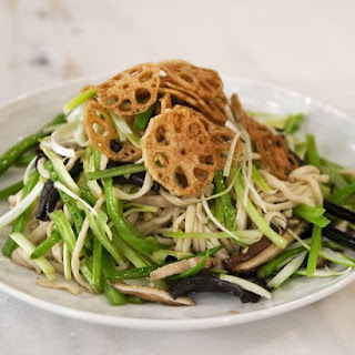 Wok-Fried Long Life Noodles with New Year Vegetables.