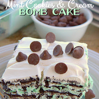 Mint Cookies and Cream Bomb Cake Using Toll House Filled Morsels
