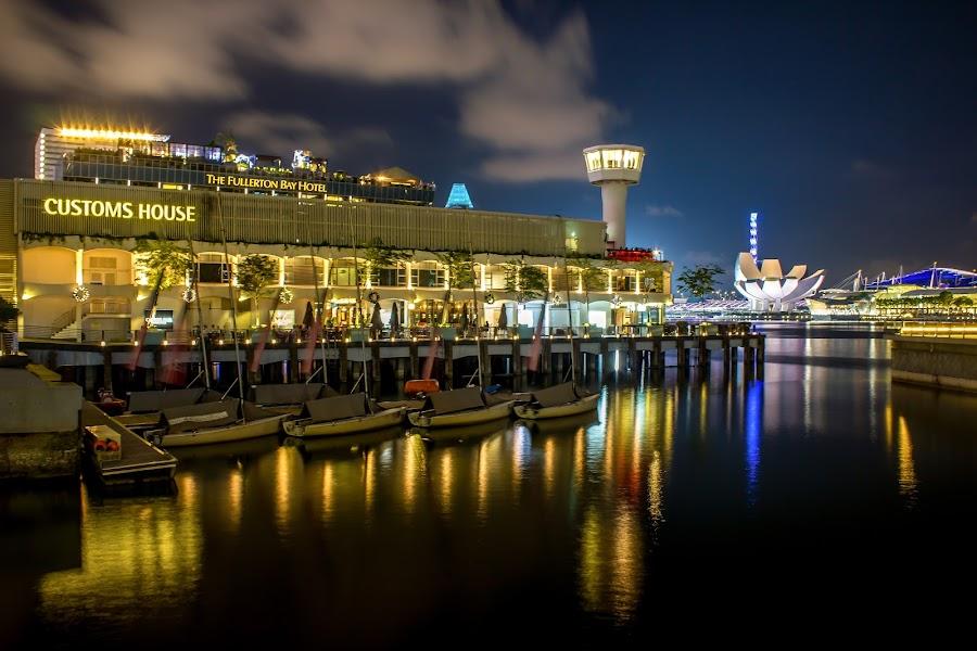 Singapore Custom House Pier by Charles Ong - City,  Street & Park  Night ( pier, house, nightscape, custom )