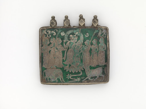 Amulet Plaque with Krishna, Radha, Gopis, and Cows