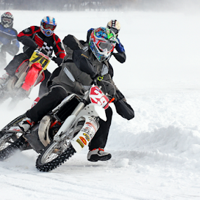 the corner by Dave Hollub - Sports & Fitness Motorsports ( ice racing, motorcycles on ice,  )