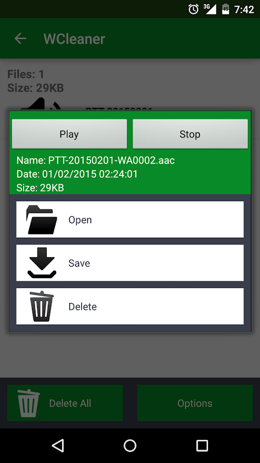 WCleaner für WA – Screenshot