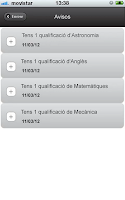 Screenshot of UB Avisos de qualificacions