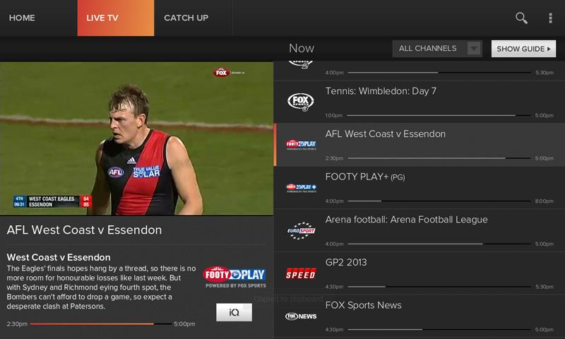 Foxtel Go - screenshot