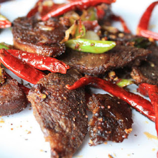 Very Crispy Tongue with Chili Bean Paste and Sichuan Peppercorns.