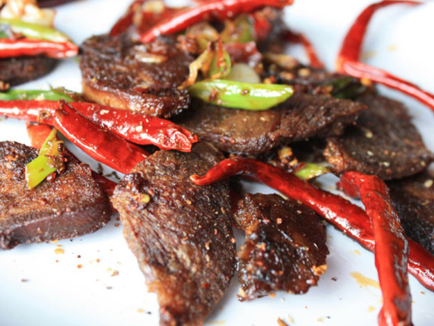 Very Crispy Tongue with Chili Bean Paste and Sichuan Peppercorns Recipe