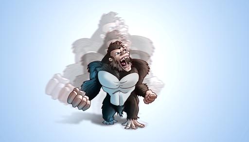 ジャンプ怒っている猿