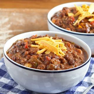 Slow Cooker Ground Beef and Chorizo Chili.
