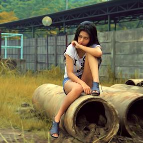 Menyendiri by PriAs KHocaiy - People Portraits of Women