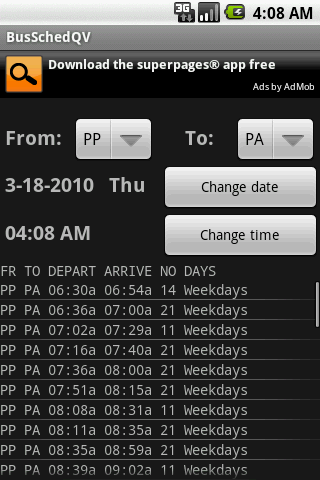 Bus/Train Schedule Quick View - screenshot