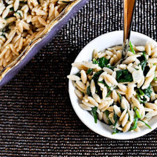 Three Cheese Orzo and Spinach.
