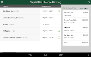 Screenshot of Capital Bank Mobile Banking