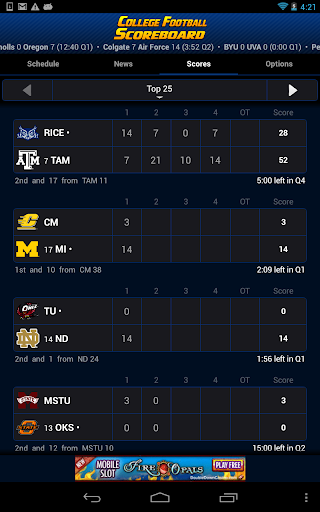 College Football Scoreboard Screenshot
