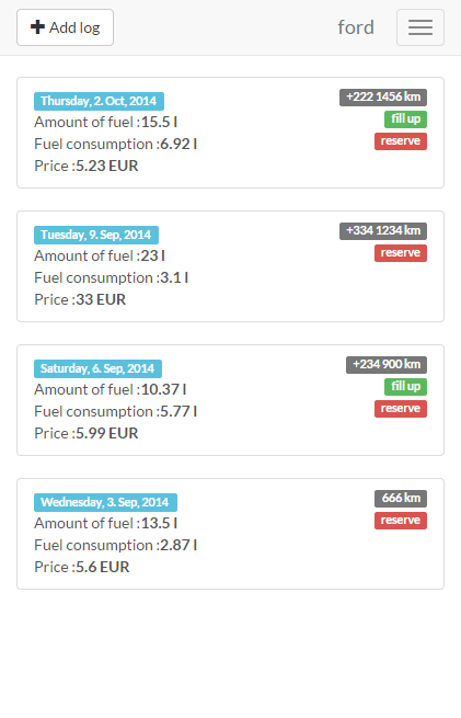 Fuel Log (refueling) - screenshot