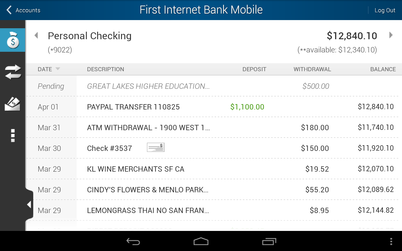 First Internet Bank Mobile - screenshot