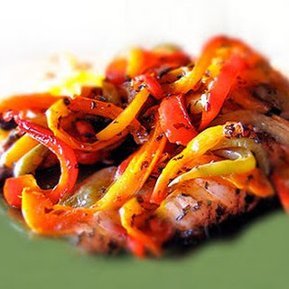 Mediterranean Chicken with Vinegar Roasted Peppers
