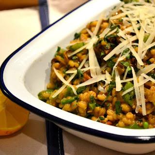Pearl Barley Risotto with dried mushrooms & sugar snap peas