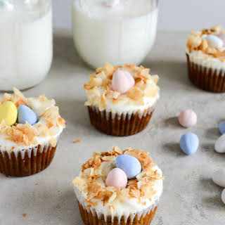 Banana Carrot Cake Cupcakes with Coconut Cream Cheese Frosting.
