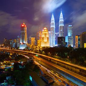The Crooked Path  by Najmi Rooslan - City,  Street & Park  Skylines ( hdr, uwa, d7000, malaysia, cityscape, tokina, kl, kuala lumpur, nightscape )