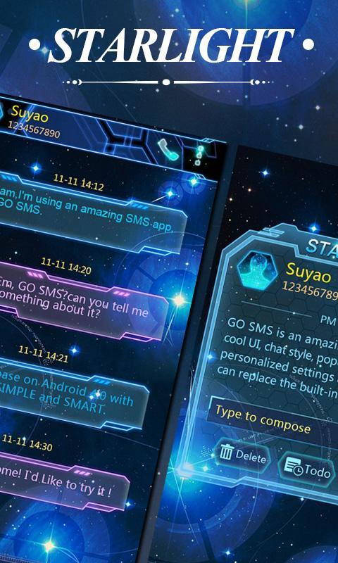 GO SMS PRO STARLIGHT THEME - screenshot
