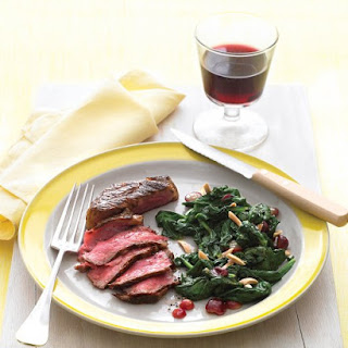 Pan-Seared Steak with Spinach, Grapes, and Almonds.