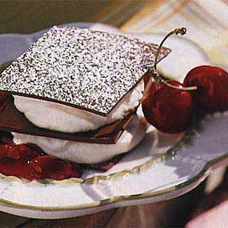 Chocolate Napoleons with Mascarpone Cream and Cherry Compote.