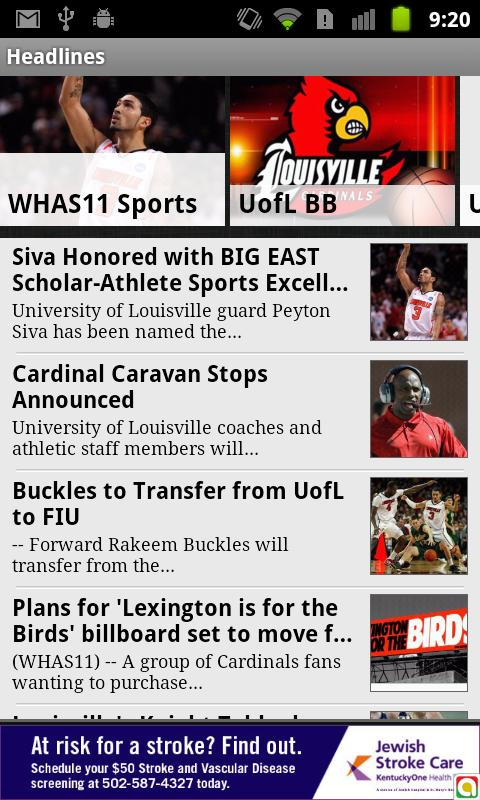 Louisville College Sports WHAS - screenshot