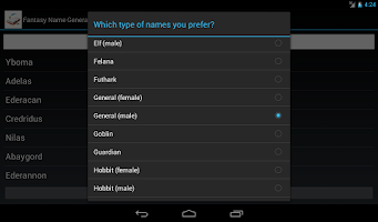 Screenshot of Fantasy Name Generator