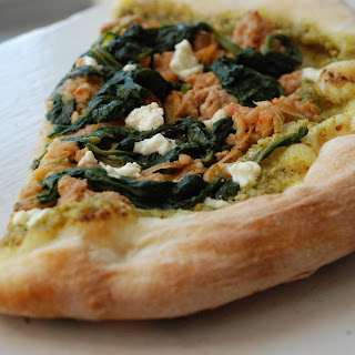 Arugula Pesto, Spicy Pork & Spinach Pizza