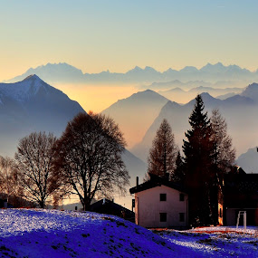 Giornate così! by Luigi Alloni - Landscapes Mountains & Hills ( mountains foggy light trees perspective landscape )