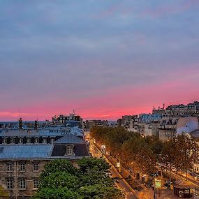 Evening over Montmartre - Paris by Marcel de Groot - City,  Street & Park  Street Scenes