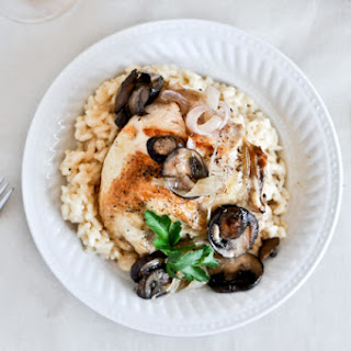 Beer Risotto with Mushroom Garlic Chicken.