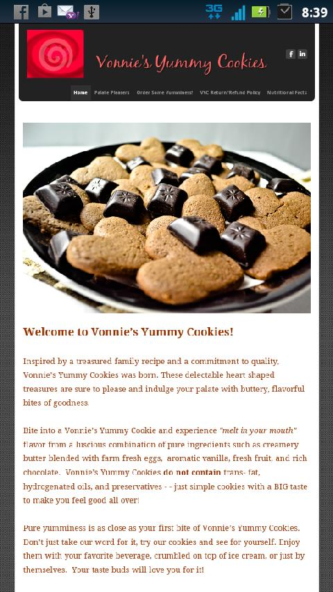 vonnies yummy cookies - screenshot