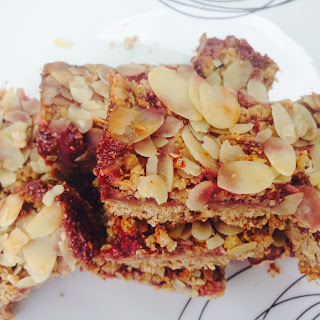 Breakfast Peanut Slices With Crumble, Sliced Almonds And Strawberry Chia Jam
