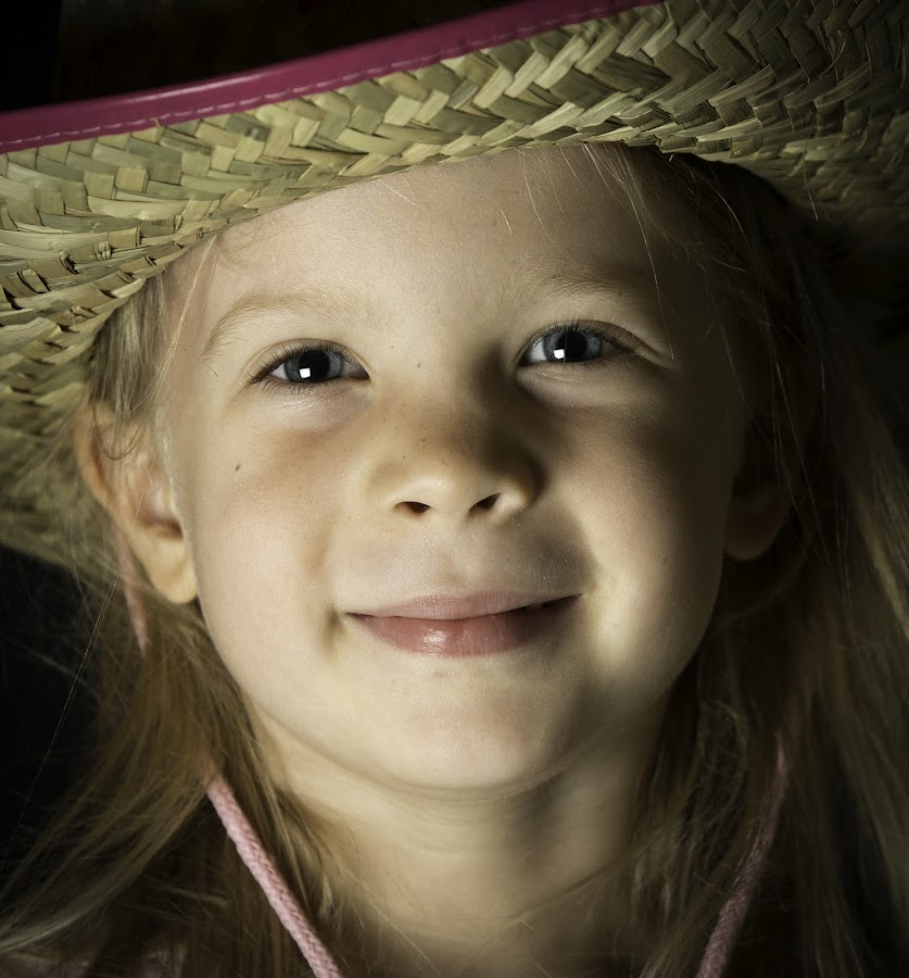 Cowgirl by Troy Wheatley - Babies & Children Child Portraits ( child, girl, cowgirl, smile, hat )