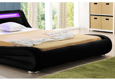 acheter lit 140x190 simili cuir noir avec clairage led luminosa marseille chez envie de. Black Bedroom Furniture Sets. Home Design Ideas