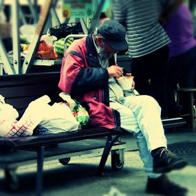 Lunch by Renato Dibelčar - People Street & Candids ( canon, essen, strasse, koper, slovenia, street, bunch, men, mann, lunch, people, sx50hs )