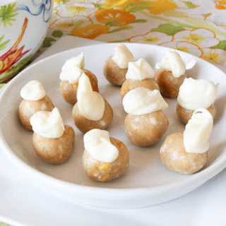No-Bake White Chocolate & Mango Cookie Dough Bites (Gluten-Free, Soy-Free, Seed-Free, Vegetarian).